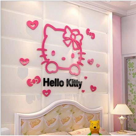 Hello Kitty 3d Crystal Acrylic Wallpaper Wall Stickers Shopee
