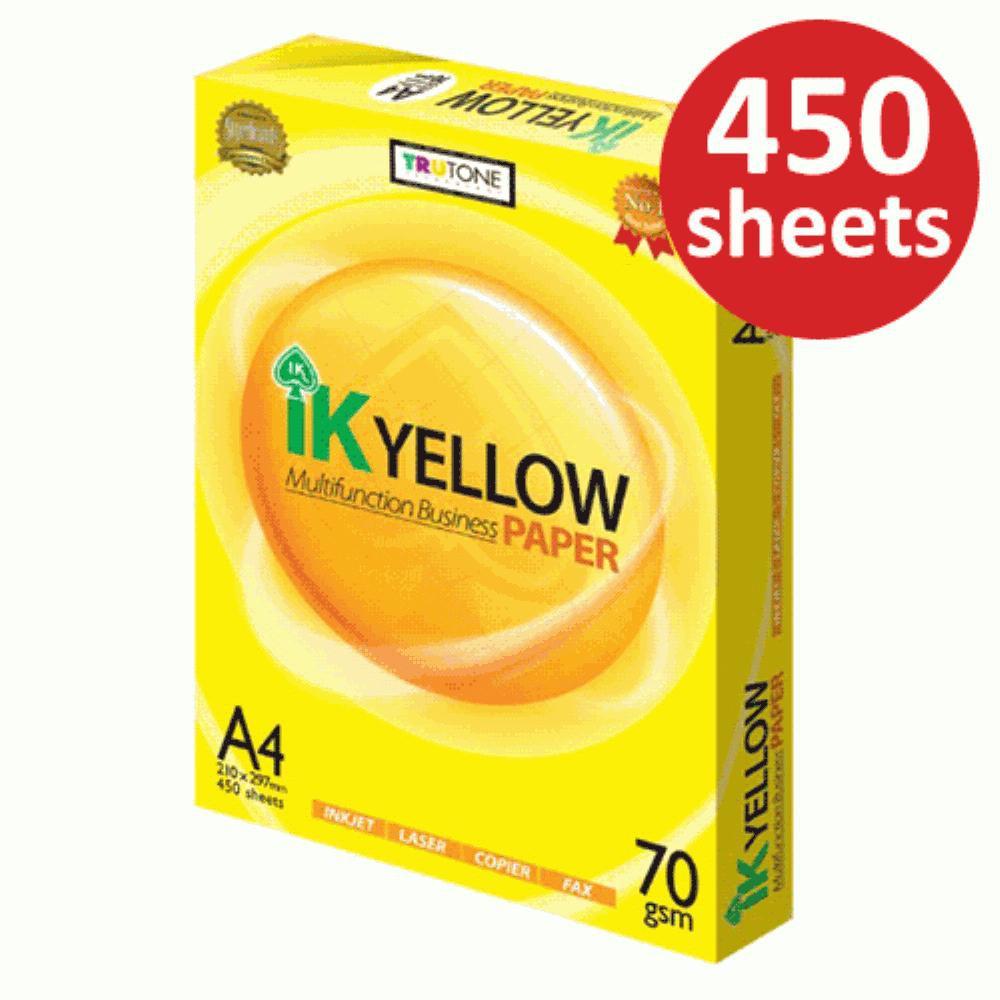 Ik Yellow A4 Paper 450's 70gsm / Kertas A4 Putih / Kertas Fotostat /A4 Copier/ Photostat Paper