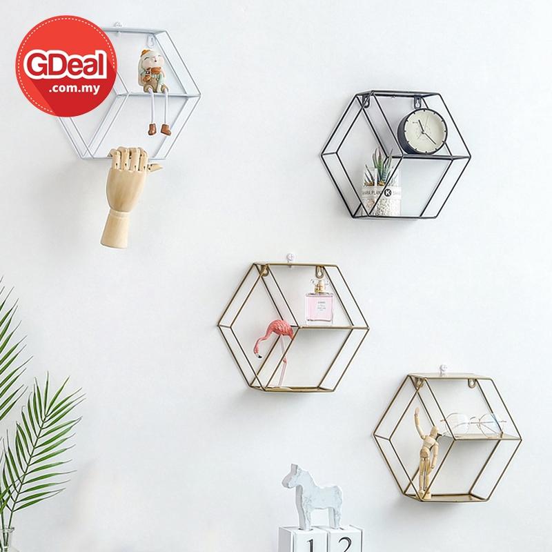 GDeal Nordic Vintage Rack Metal Iron Hexagon European Style Wall Hanging Shelf Home Bedroom Decoration