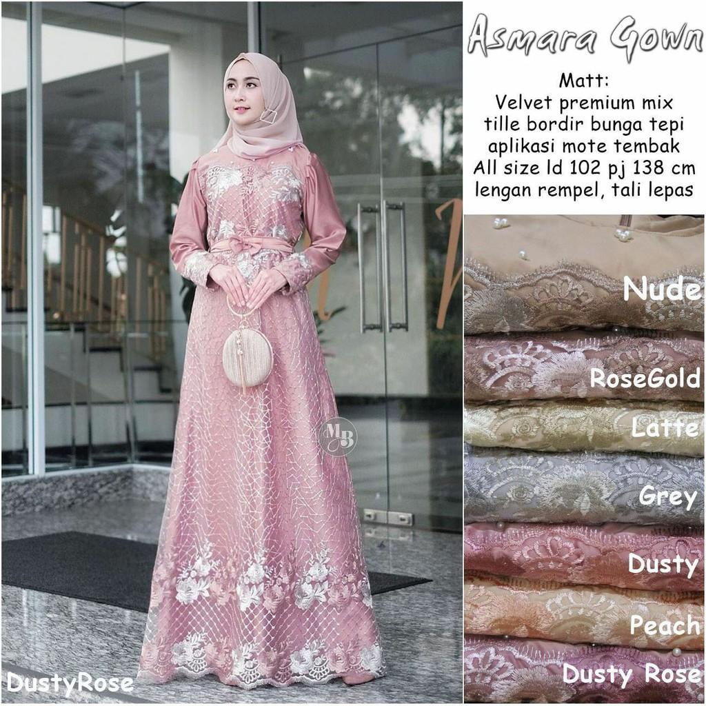 BROKAT GAMIS BRUKAT TILLE DRESS MUSLIM EMBROIDERY FLOWER ASMARA AURA