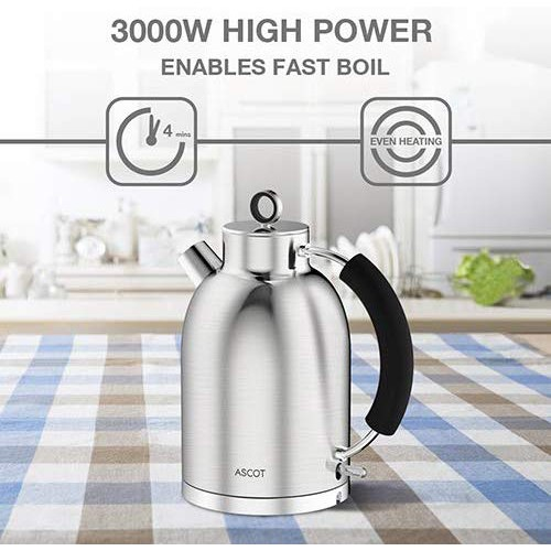 BPA-Free Boil-Dry Protection Glass Kettles Stainless Steel 1.5L Automatic Shutoff ASCOT Tea Heater /& Hot Water Boiler 3000W Cordless Electric Kettle