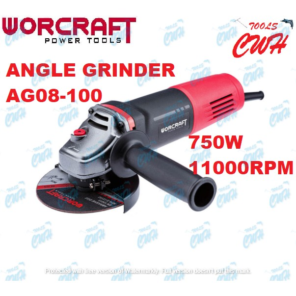 """WORCRAFT AG08100 750W 11000RPM 4"""" ANGLE GRINDER GRINDING CUTTER CUTTING"""