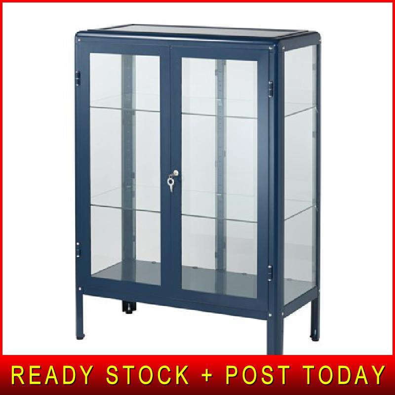 Ikea Fabrikor Glass Door Cabinet Dark Grey Shopee Malaysia