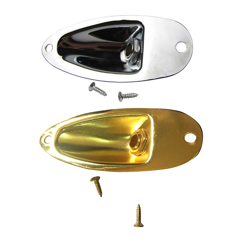 2X Rose Gold Boat Output Jack Plate Socket for Strat Electric Guitar Replacement