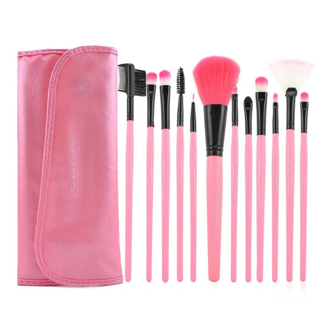 Hualiya Makeup Cosmetic Brush Set 12 Brushes with Case (Pink)