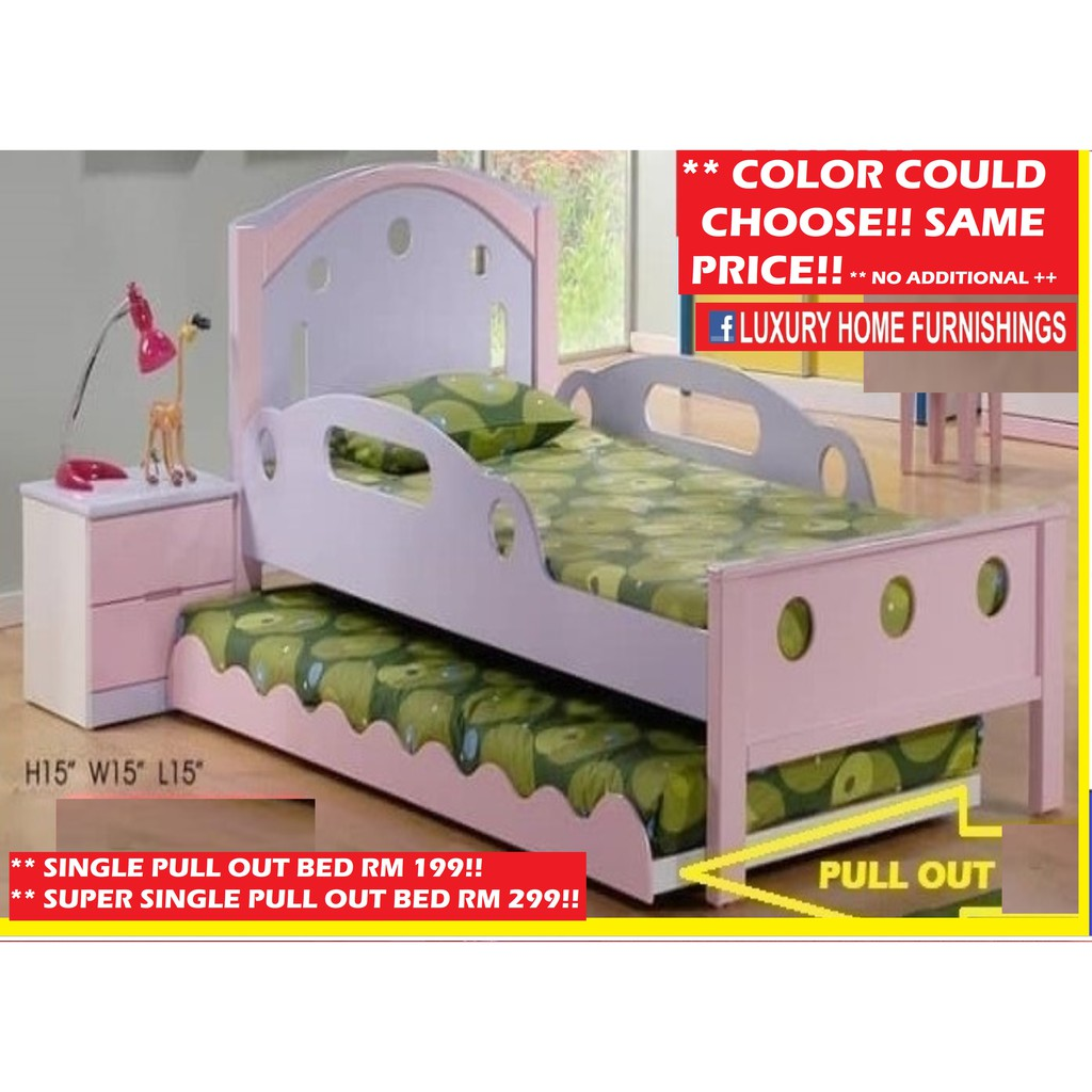 Children Bed Collections, Super Single bed WITH SAFETY SIDE RAILS  RM 599 & SUPER  SINGLE Pull out RM 299, SET RM 898!!