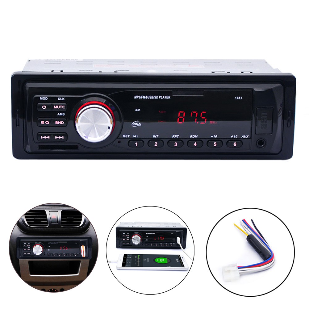 b7e4bcf22db 1 Din Car Stereo MP3 Audio Player Dual Knob In Dash USB FM Radio AUX ...