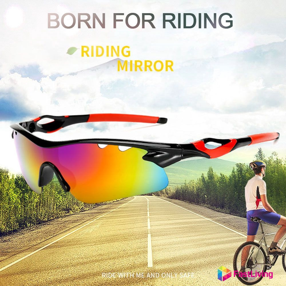 Polarized Motorcycle Lens Sun Glasses Sports Wrap Riding Cycling Biker Windproof