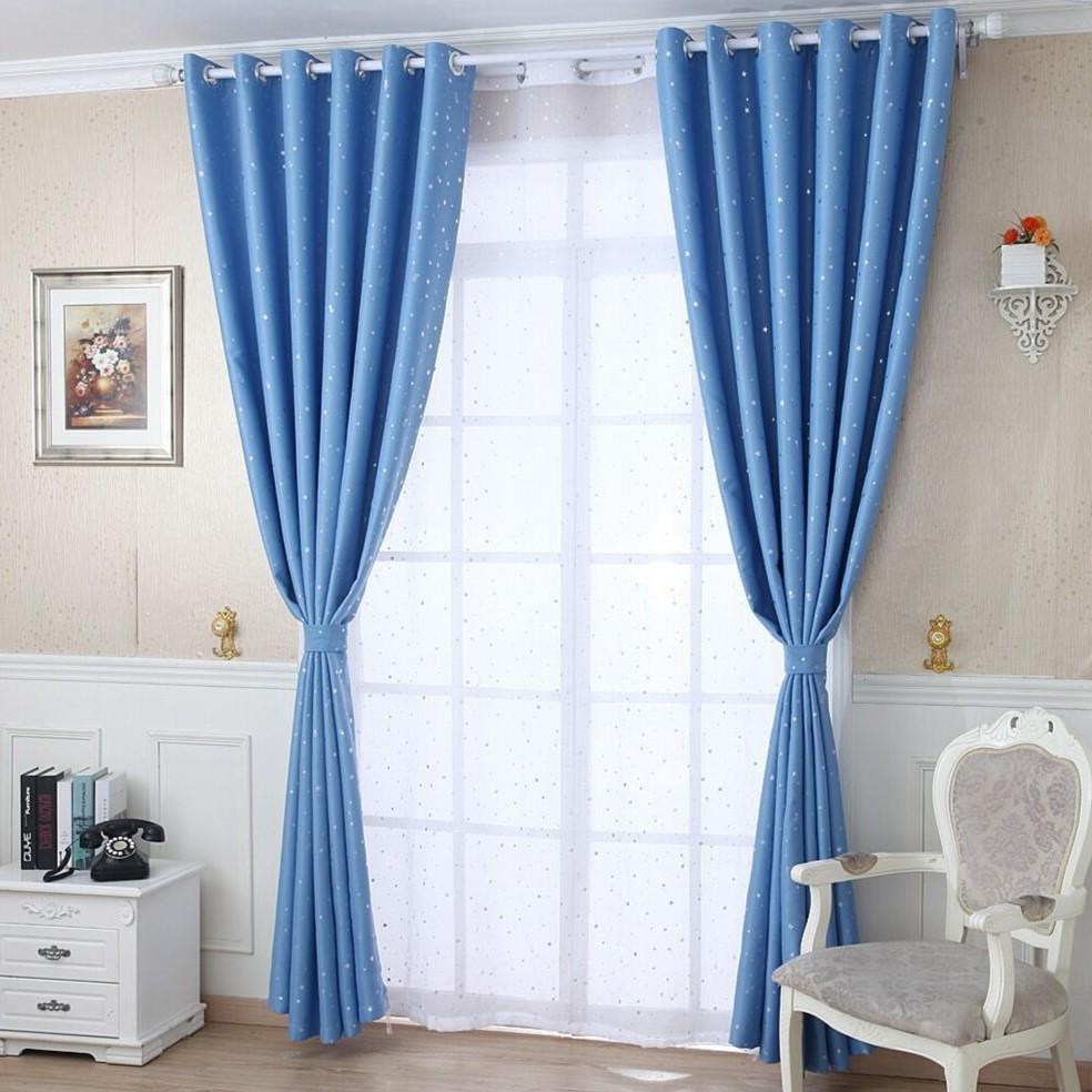 Bedroom Blackout Curtains Sliding Door Window Sky Blue Curtain Star Curtain  for Living Room Hook Eyelet Ring Curtain
