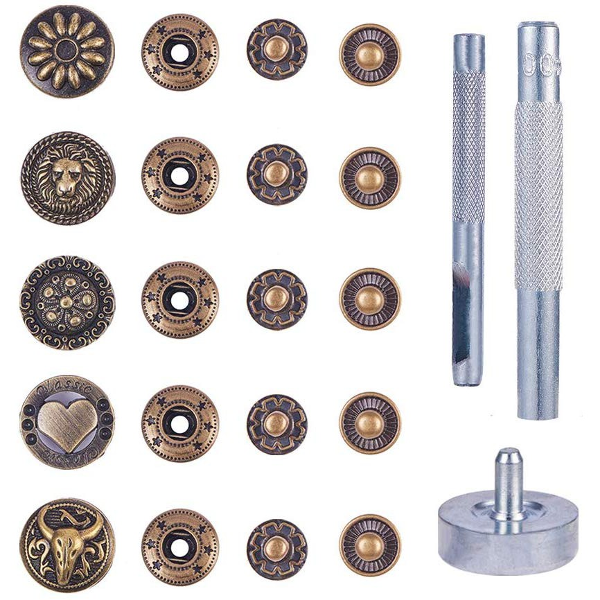 Black//Silver//Brass 60 Set Press Studs Kit Snaps Fastener//Popper Die Punch Tool