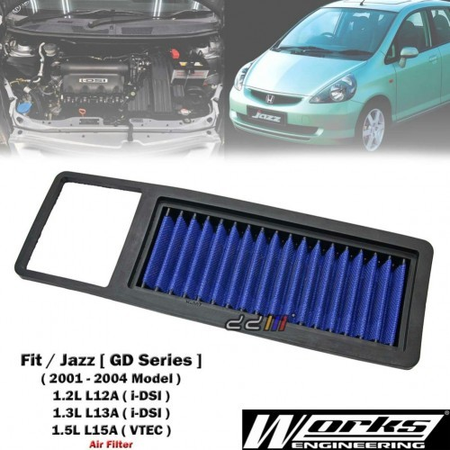 Works High Flow Air Filter For Honda Jazz Fit Gd1 Gd3 Gd5 12l 13l