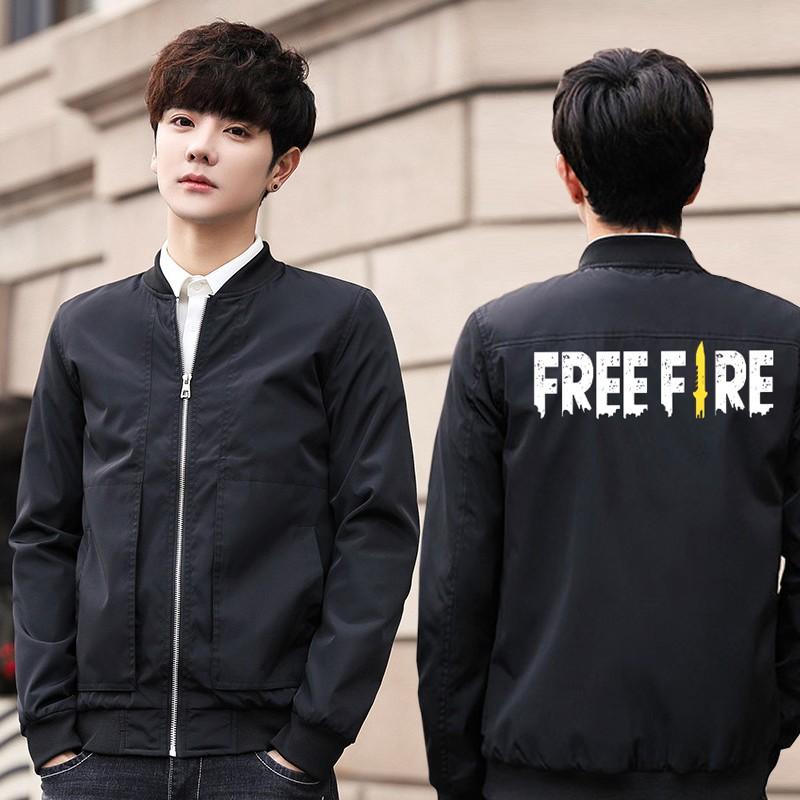 Ready Stock Bomber Jacket Free Fire Game Style Casual Men Slim Fit Windbreaker