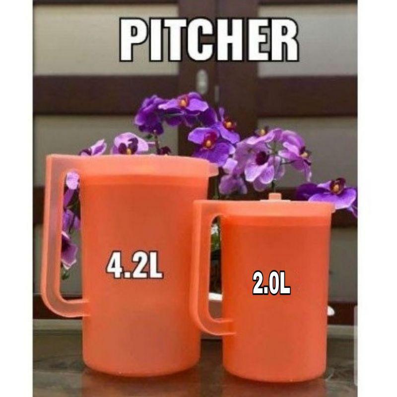 [READY STOCK] Original Tupperware Coral Blooms Pitcher Set 4.2L or 2.0L / Jug Air Tupperware