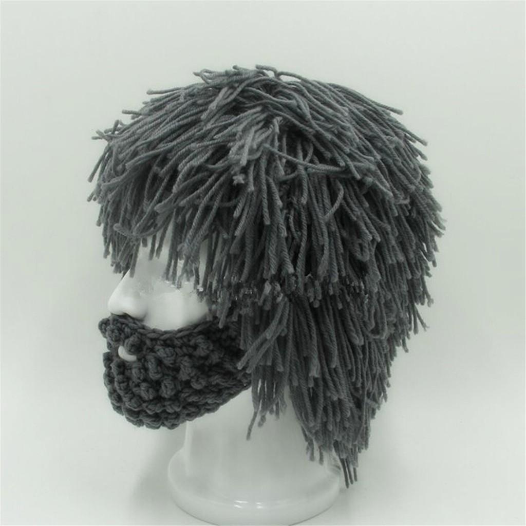 162d70d656c Wig Beard Hat Hobo Mad Scientist Rasta Caveman Handmade Knit Warm Winter Cap