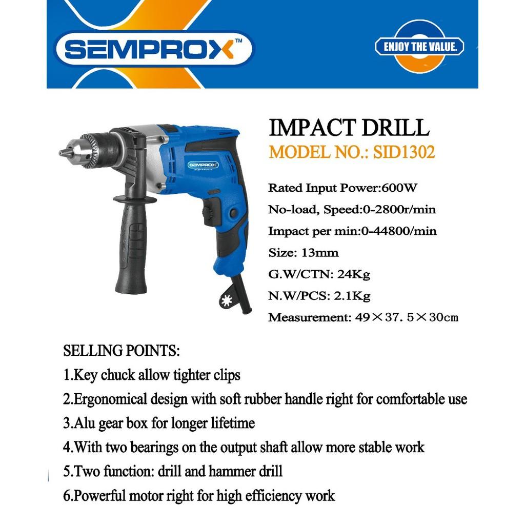 SEMPROX SID1302 600W 13MM IMPACT HAMMER DRILL DRILLER GERUDI