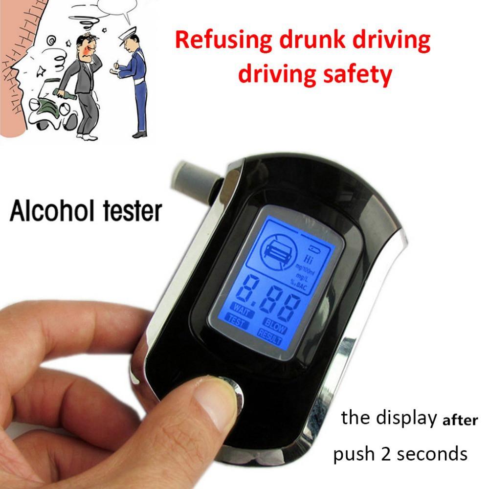 Digital Breath Alcohol Tester LCD Breathalyzer Analyzer With 5 Mouthpiece SG