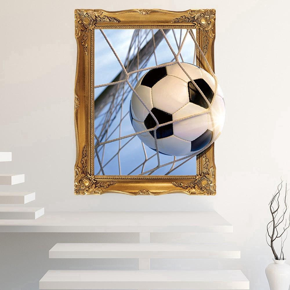 3D Football Wall Decals Sticker Home Living Room Decor Wallpaper ES ...
