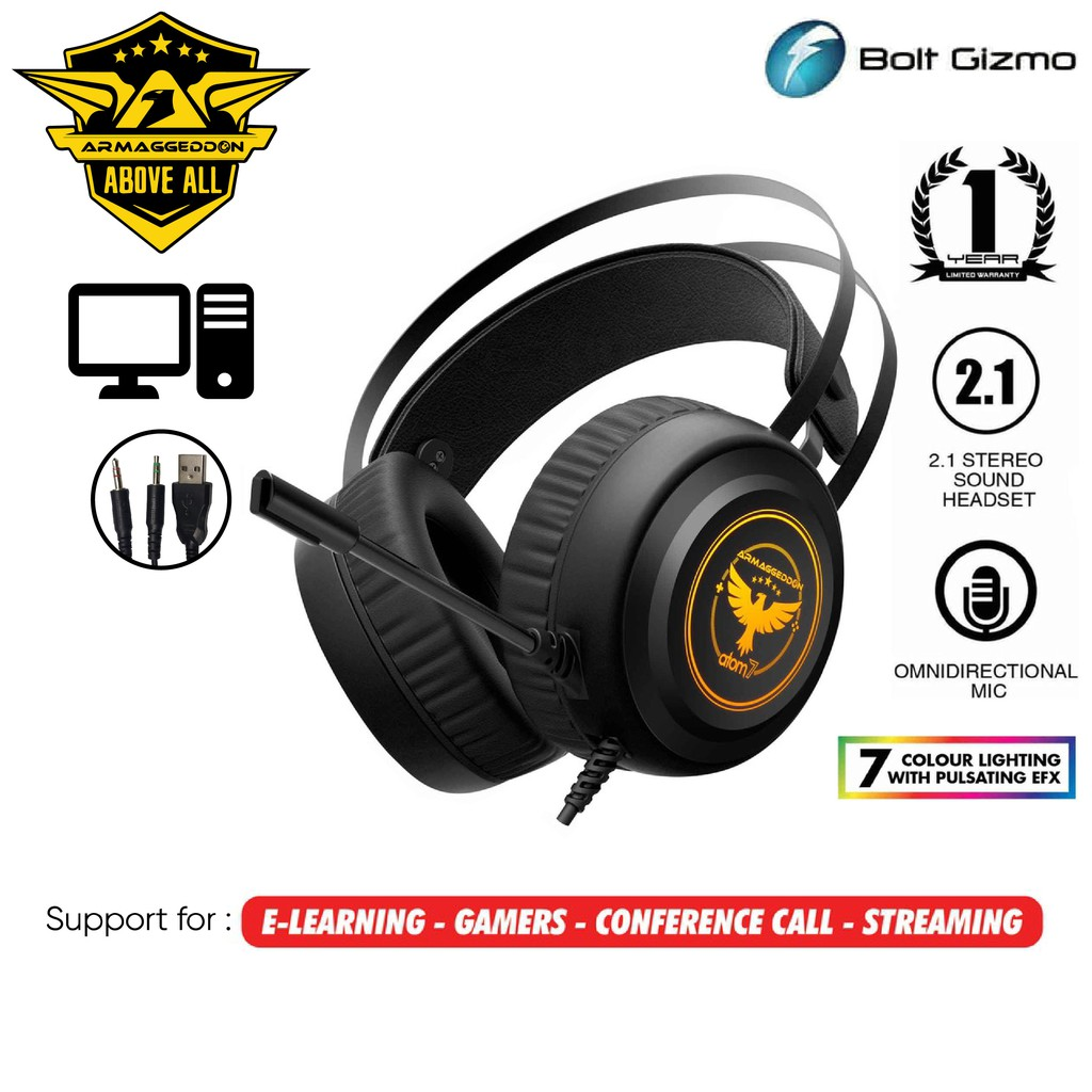 ARMAGGEDDON ATOM 7 Gaming Headphones 2.1 GAMING HEADSET for PC LAPTOP 7 Colour Lighting Stereo Strong Bass Overear audio