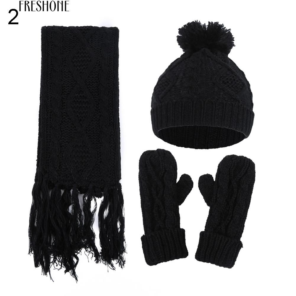 5bd791ffd1dabb Freshone Winter Warm Solid Color Men Women Pompom Cap Knitted Gloves Set