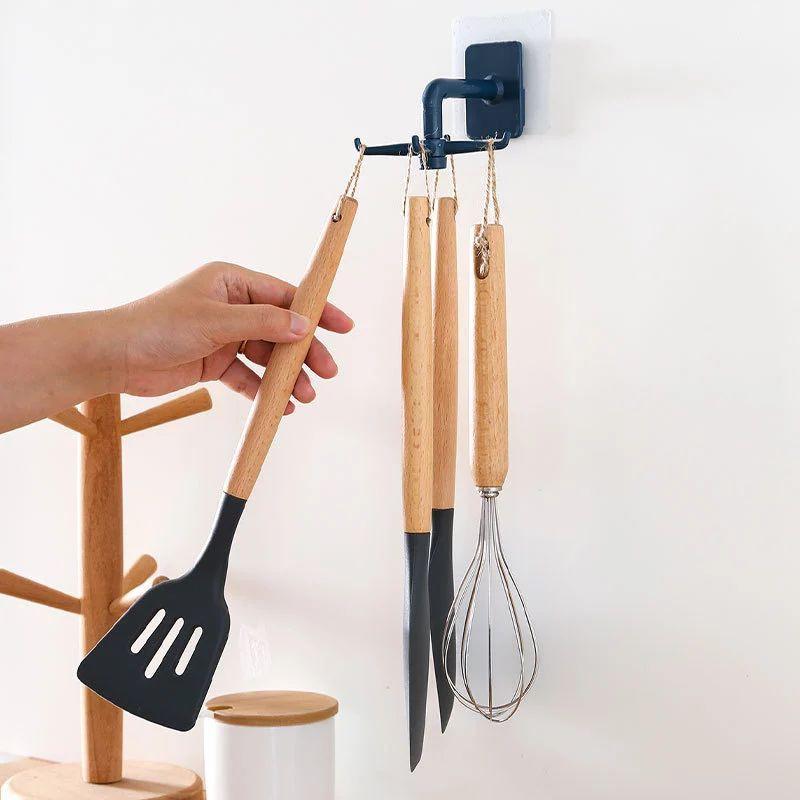【Ready stock】免打孔壁挂式360度可旋转4爪6爪挂钩厨房厨具收纳架多用旋转挂钩批发