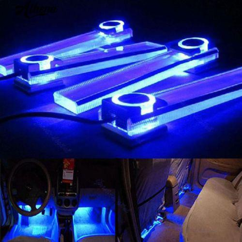 12V 4*3LED Car Charge 4 in1 Atmosphere Lamp Blue Glow Car Interior Furnishing