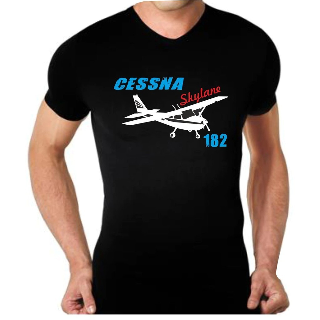 Cessna Aircraft Aviation Airplane Logo Men/'s Black T-Shirt Size S to 3XL
