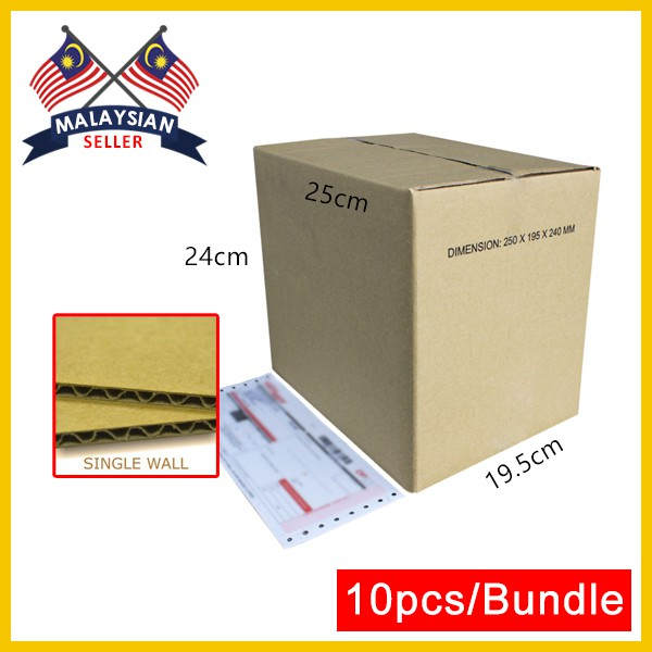 (250mm x 195mm x 240mm, Set of 10) Small Cardboard Carton Box for Packing