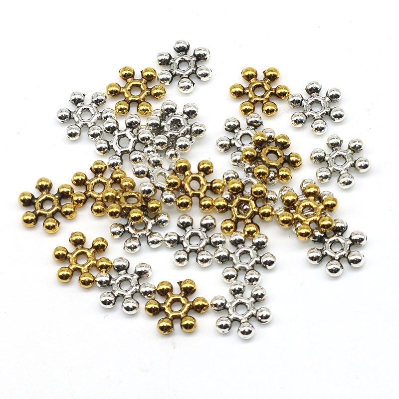 500 Pcs Quality Gold Plated Snowflake Spacer Beads Jewelry findings 8mm 10mm
