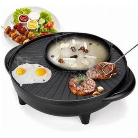 2 IN 1 Non stick Grill Pan  & Hot Pot Steamboat