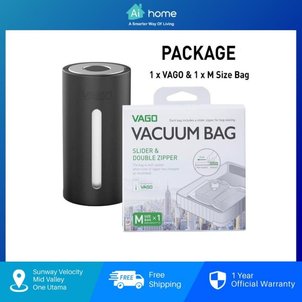 Vago Travel Vacuum Compressor [ Free 1pc M Size Vacuum Bag ] - Saving Luggage Space up to 50% | Compact Design [ Aihome