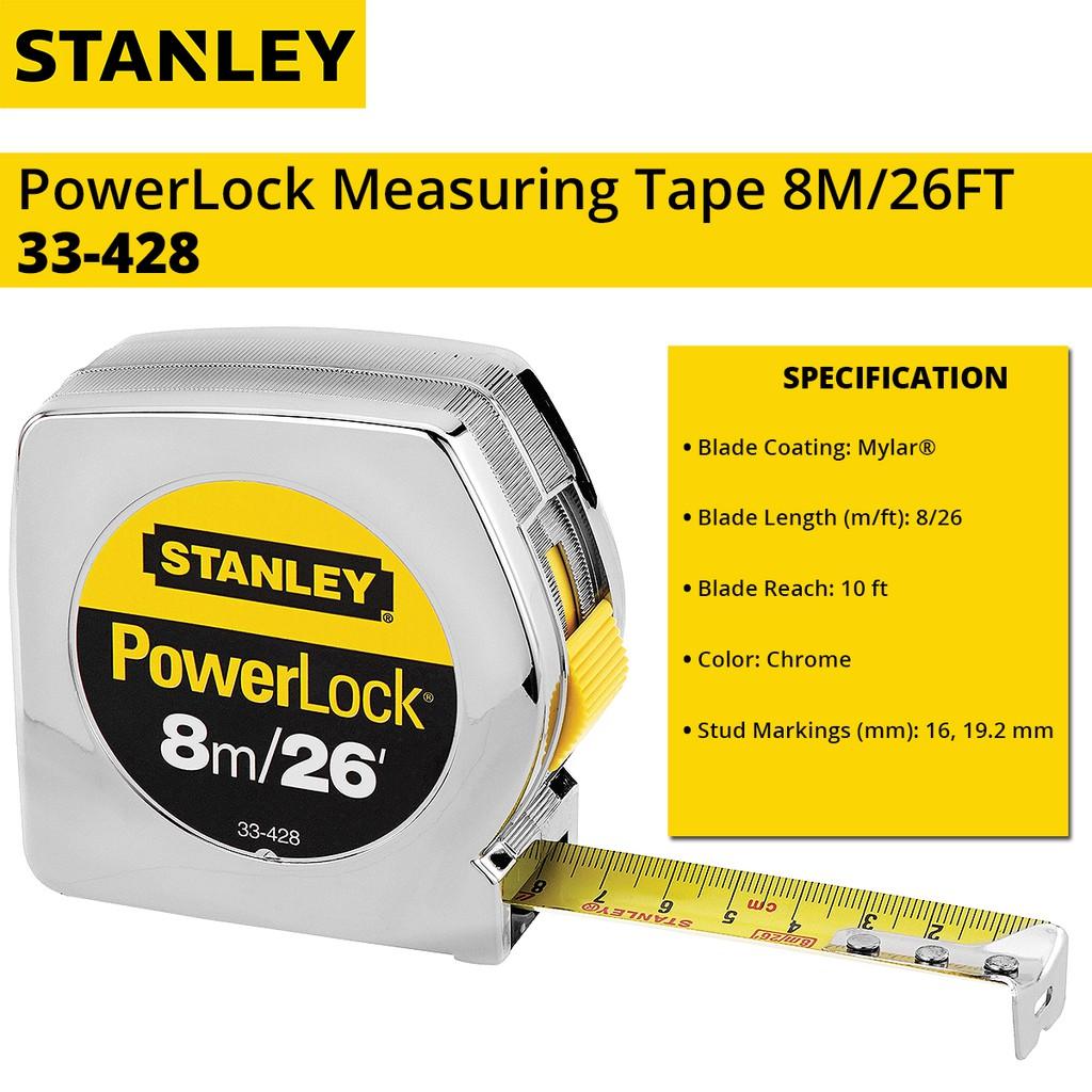 Stanley 33-428 PowerLock Measuring Tape Rule 8m (26ft)