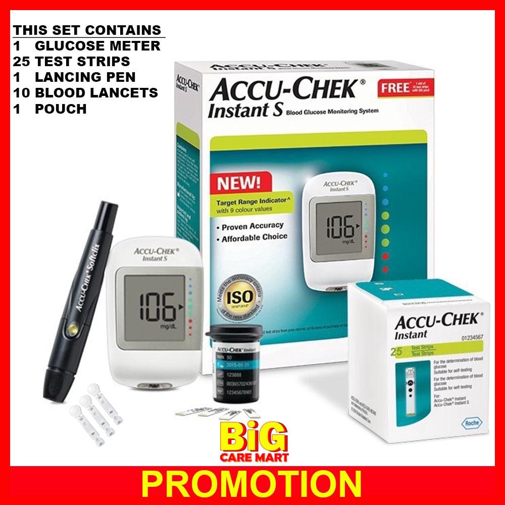 Accuchek Instant S Blood Glucose Meter + Lancet + 10strips