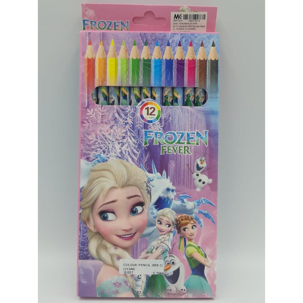 12pcs/box colour pencil stationery color children kids birthday party gift goodies bag Spiderman,pony,cars,frozen,