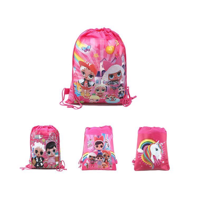 Girls LOL surprise Dolls Drawstring Backpack Kids Cartoon Non-woven Gym Bag