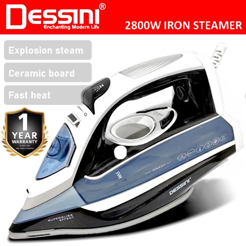 DESSINI ITALY 2800W LCD Electric Ceramic Soleplate Garment Steam Iron Sprayer Steamer Clothes Brush / Seterika Baju