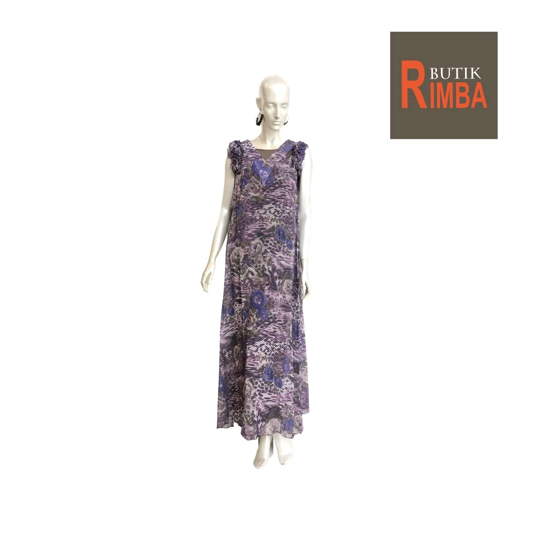SLEEVELESS CHIFFON FLOWER TRANSPARENT DRESS V-NECK FOR STYLISH WOMEN 02