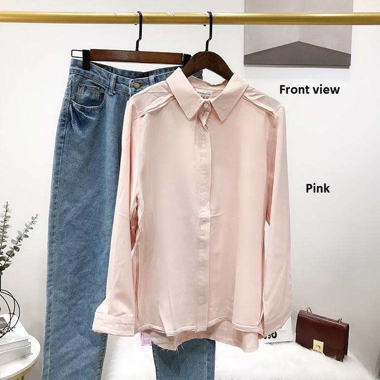 Women's Korean Plain Long Sleeve Shirt Top 女装韩版纯色长袖衬衫