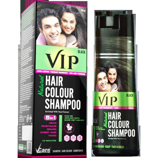 VCare VIP Hair Colour Shampoo 5 In 1 - 180Ml (Black) Bottle ...