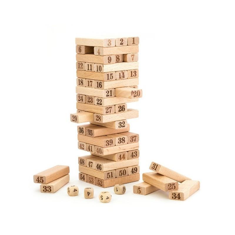54pcs Wooden number Stacking block Saiz Besar Wooden Block Jenga Stacko Stacking Games Tower 54pcs wiss toys