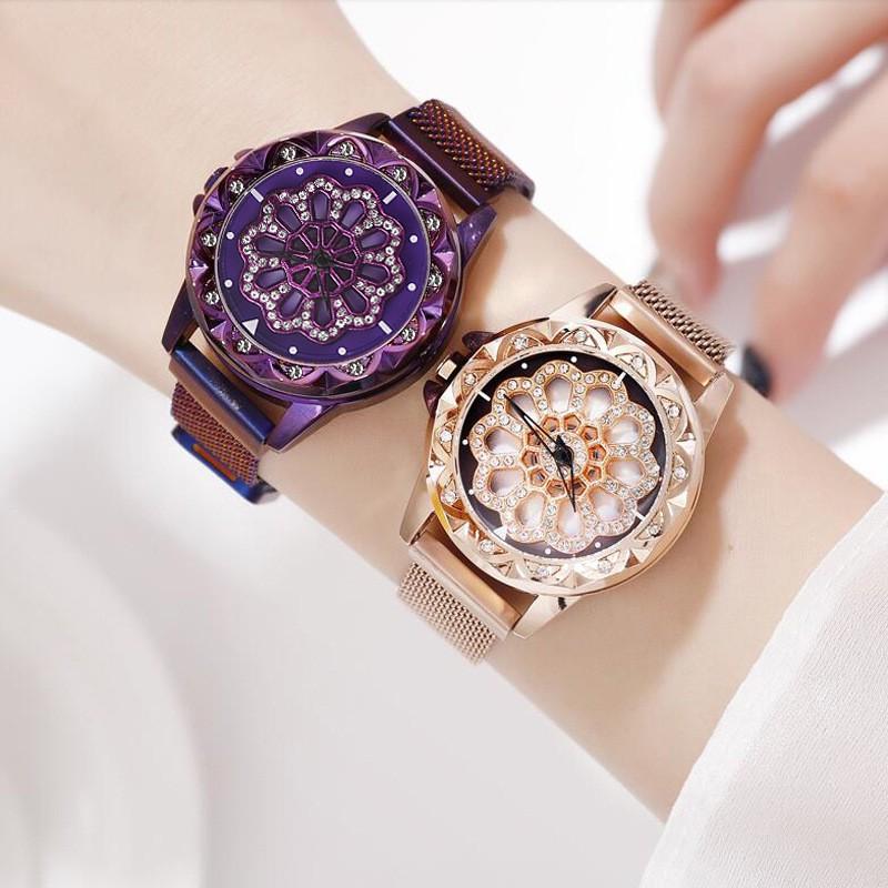 Jam Tangan Women Magnetic 360° Rotating Dial Analog Quartz Watch Ladies Lucky W00116