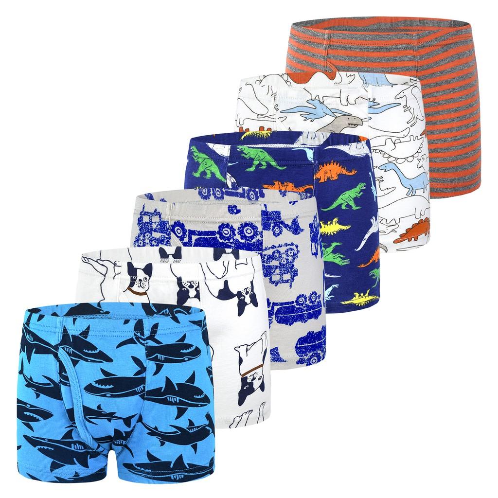 6-Pack Kids Underwear Cartoon Zebra Cotton Boys Boxer Briefs for 2-12 Years