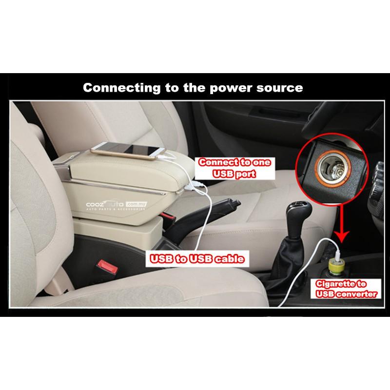 Honda BRV BR-V PVC Adjustable Arm Rest Armrest Console Black