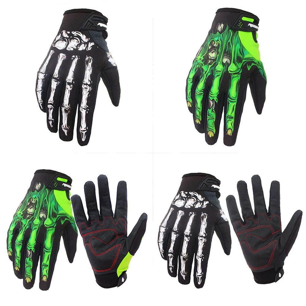 Mens Cycling Motorcycle Skull Bone Skeleton Goth Full Finger Warm Gloves HO3