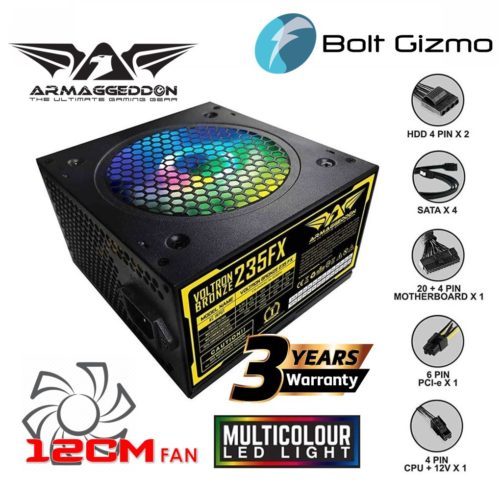 Armaggeddon Voltron Bronze 235FX Power Supply With 120mm LED Fan   Pure Power Rated 242 Watts PC Desktop RGB