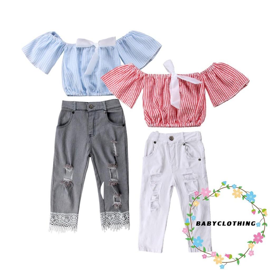 Girls Clothes Shirt Tops Skirts+Hole Denim Pants Kids Toddler Baby Outfits SetUK
