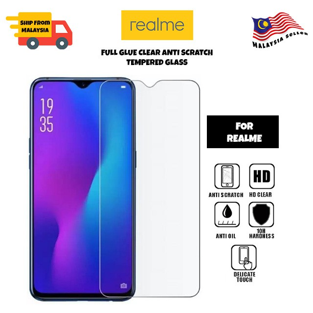 Realme 6/6Pro/5/5Pro/C1/C2/2/2Pro/3/3Pro/6i/XT/X2Pro/5i/C3 9H Clear Tempered Glass