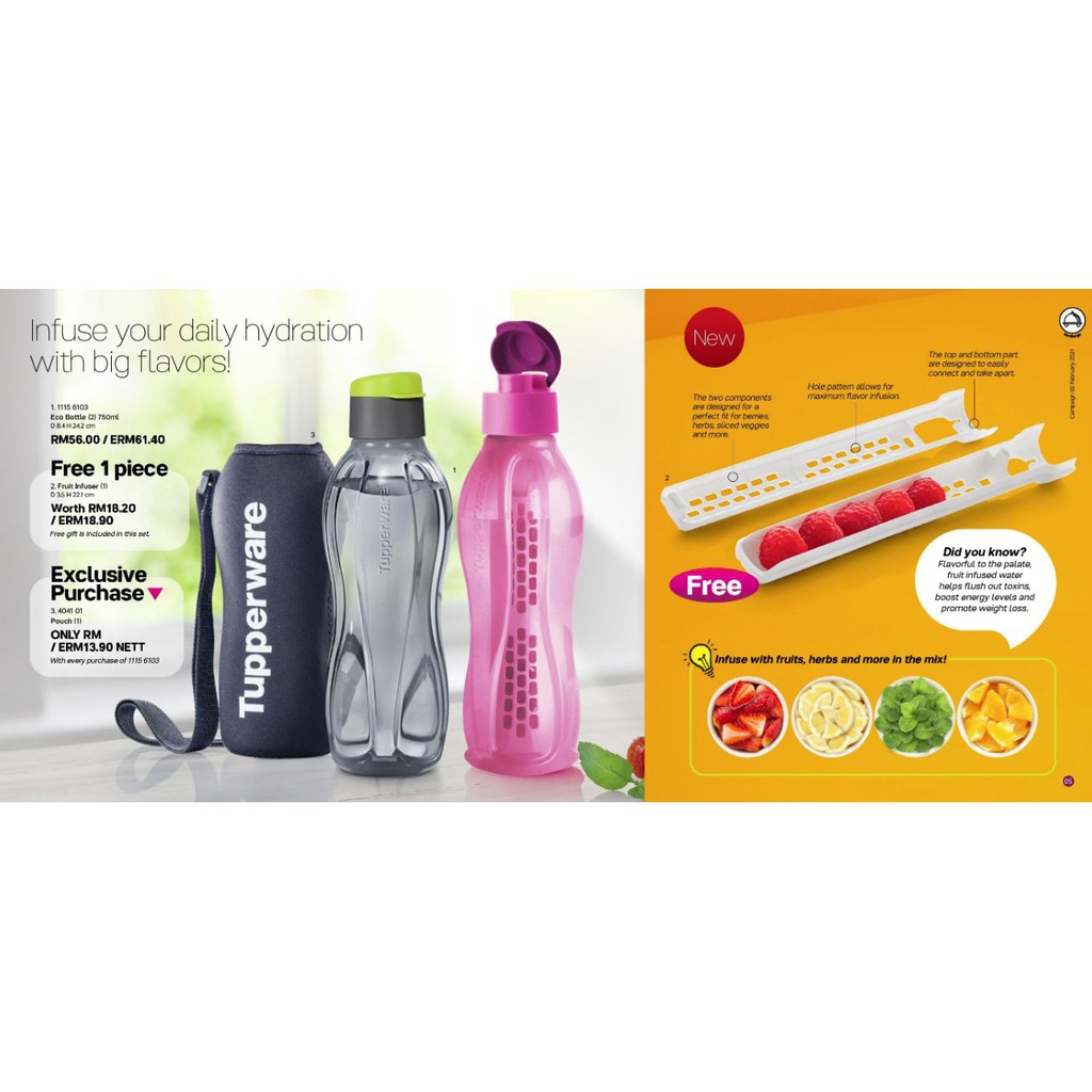 (New) Tupperware Eco Bottle with Fruit Infuser (750ml)