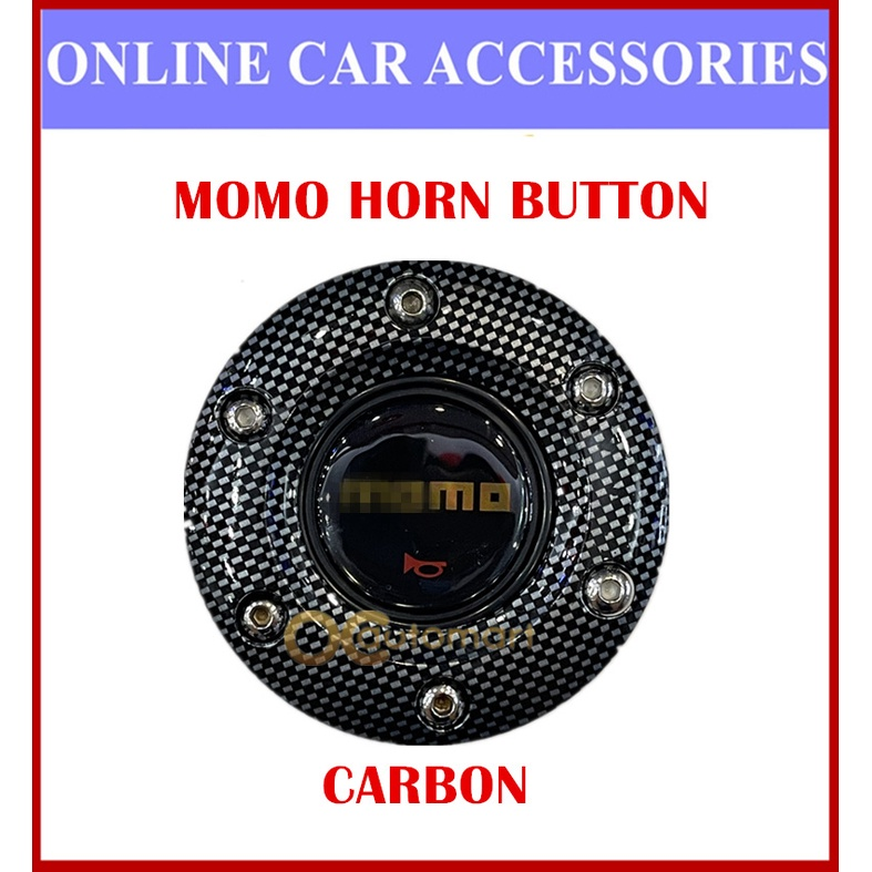 (Metal) M O M O Steering Wheel Hubcap Car Horn Button - Red Blue Silver Carbon Black