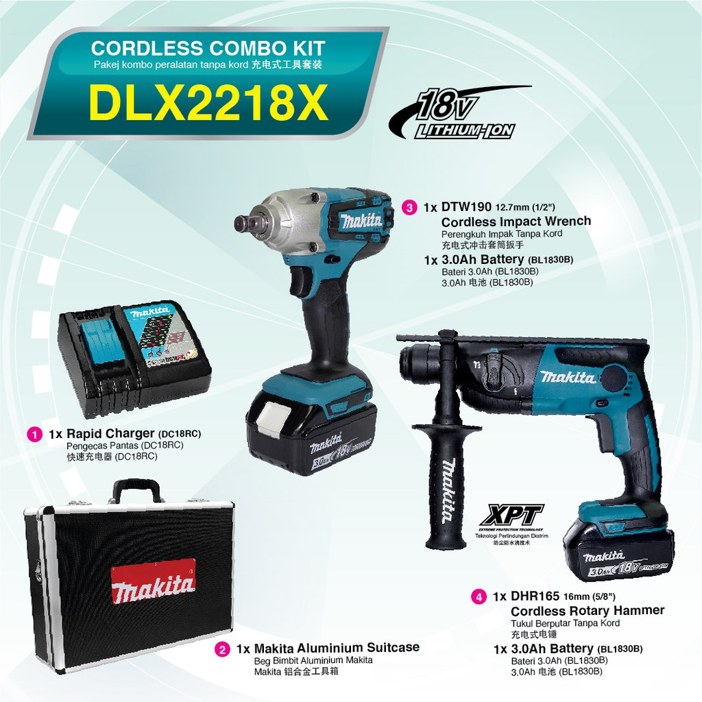 MAKITA DLX2218X CORDLESS IMPACT WRENCH + ROTARY HAMMER DTW190Z DHR165Z DC18RC