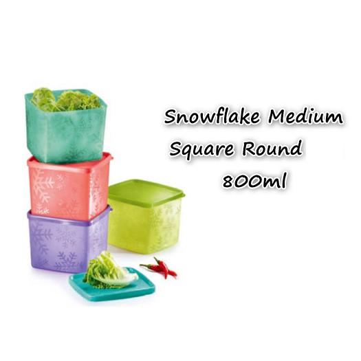 Tupperware Snowflake Medium Square Round (1pc) 800ml